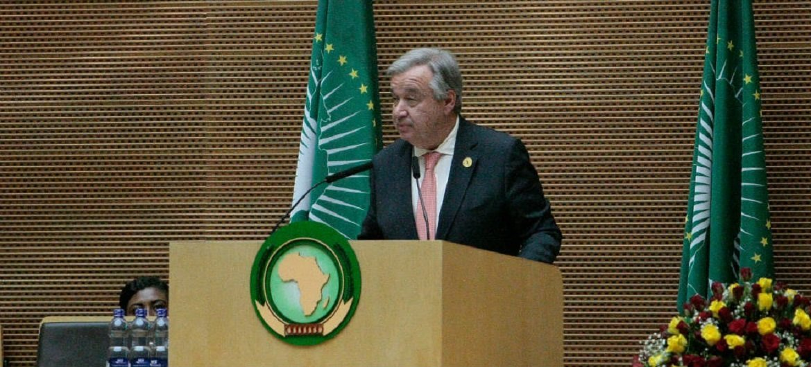 United Nations Secretary-General António Guterres addressing the Opening of the 30th Ordinary Session of the Assembly of the African Union, In Addis Ababa, Ethiopia.