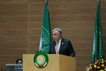 联合国秘书长古特雷斯在埃塞俄比亚首都亚的斯亚贝巴举行的非洲联盟首脑会议上发表讲话