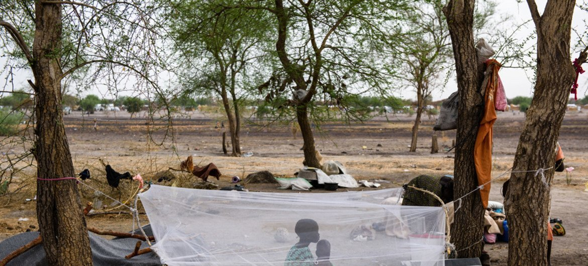 Children sit under a mosquito net strung up between trees in Aburoc village, South Sudan. The area is the refuge for the thousands of people displaced by conflict. (file)