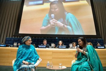 Deputy Secretary-General Amina Mohammed (left) and Jayathma Wickramanayake, the Secretary-General's Envoy on Youth, in conversation during the opening of the 2018 Economic and Social Council (ECOSOC) Youth Forum.
