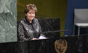 Eva Lavi, Holocaust survivor, addresses the United Nations Holocaust Memorial Ceremony on the theme, 'Holocaust Remembrance and Education: Our Shared Responsibility.'