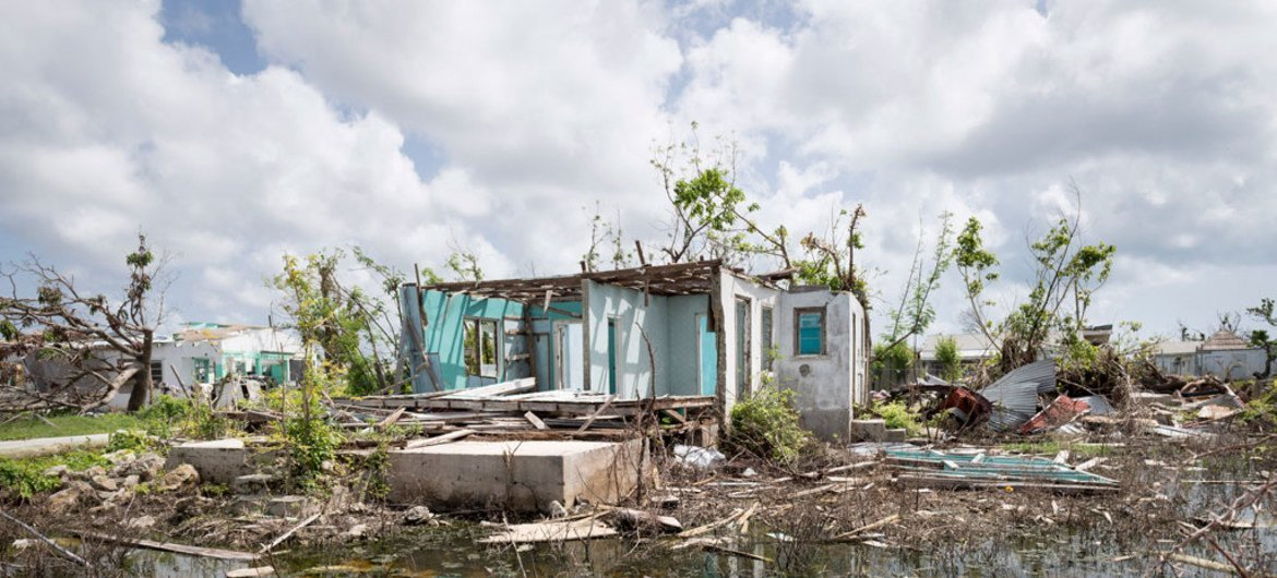 Scene from Codrington town in Barbuda during the Secretary-General's visit to survey the damage caused by recent hurricanes.