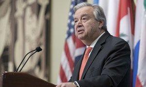 Le Secrétaire général António Guterres devant la presse au siège de l'ONU (archives).