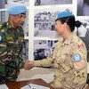 Major General Mohammad Humayun Kabir of Bangladesh, Force Commander of UN Peacekeeping Force in Cyprus (UNFICYP) shaking hands with a female peacekeeper.