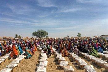 Des personnes déplacées sur un site de distribution de nourriture à Rann, dans l'État de Borno, dans le nord-est du Nigéria.
