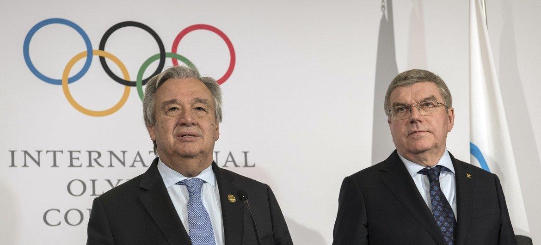 联合国秘书长古特雷斯在与国际奥委会主席巴赫举行会晤后会见记者。
