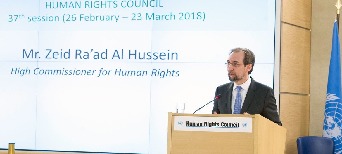 Zeid Ra'ad Al Hussein, UN High Commissioner for the Human Rights at the 37th Session of the Human Rights Council, Palais des Nations