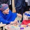 联合国常任副秘书长阿米娜·默罕默德2018年2月20日在白俄罗斯首都明斯克访问残疾儿童康复中心。