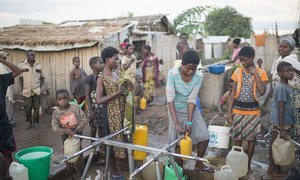 Burundian refugees collect water at Lusenda camp, South Kivu, Democratic Republic of the Congo (DRC).