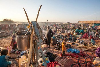 Displaced persons, mostly women and children, seek refuge at a safe zone in Um Baru, north Darfur. By the end of 2016, conflict and rights abuses displaced over 40 million globally. The same year, disasters forced another 24 million from their homes.
