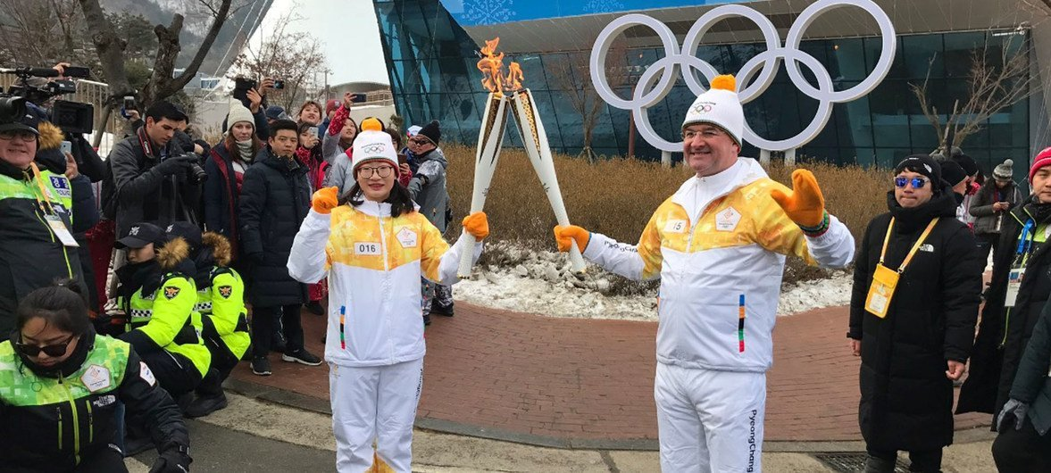 Miroslav Lajčák, President of the General Assembly, taking part in the Olympic torch relay in Pyeongchang, Republic of Korea.