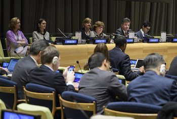 Louise Arbour, Special Representative for the Secretary-General on Migration (centre) and Miroslav Lajčák, President of the General Assembly (centre right) address the fourth informal interactive multi-stakeholder hearing of the Intergovernmental Conference and its preparatory process to adopt a global compact for migration.