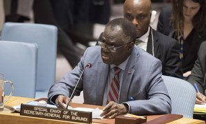 Michel Kafando, Special Envoy of the Secretary-General for Burundi, briefs the Security Council meeting on the situation in Burundi.