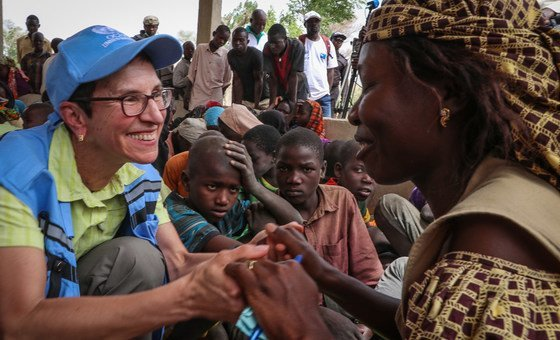 The UN Deputy Emergency Relief Coordinator, Ursula Mueller, visits Zamai sites for internally displaced persons (IDPs) and Minawao refugee camp in the Far North region of Cameroon.