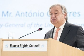 Secretary-General António Guterres addresses the High-Level Segment of the 37th Session of the UN Human Rights Council.