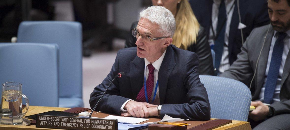 مارك لوكوك وكيل الأمين العام للشؤون الإنسانية، ومنسق الأمم المتحدة للإغاثة الطارئة.
