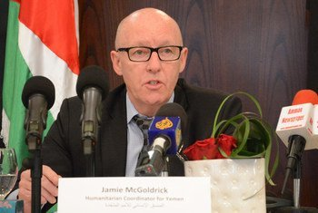 The Humanitarian Coordinator for Yemen, Jamie McGoldrick, speaks at a press conference. (File photo)