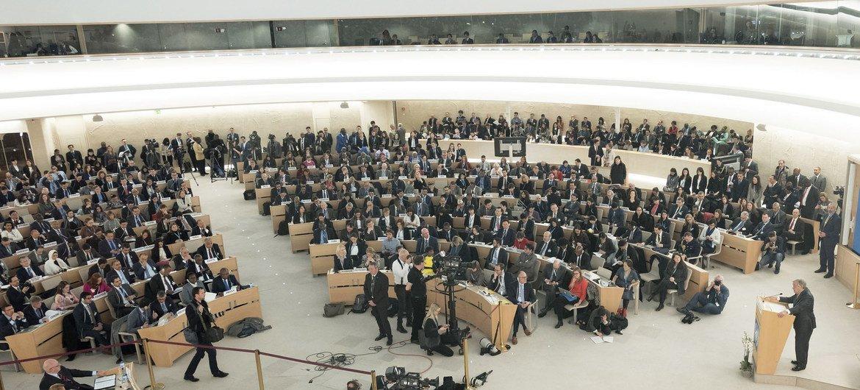 Генеральный секретарь ООН Антониу Гутерриш  на 37 сессии Совета ООН по правам человека