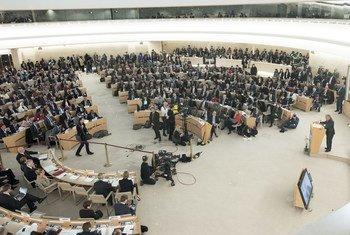 Le Secrétaire général de l'ONU, António Guterres, à la 37ème session du Conseil des droits de l'homme, le 26 février 2018.(Archives)