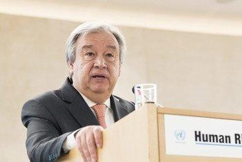 Secretário-geral António Guterres fala na 37ª sessão do Conselho de Direitos Humanos