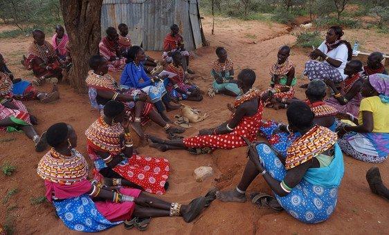 Women from Samburu, Kenya, say no to female genital mutilation in public discussion gatherings.