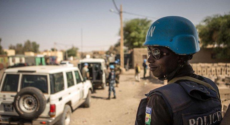 Nigerian police patrol the northern Malian city of Timbuktu.