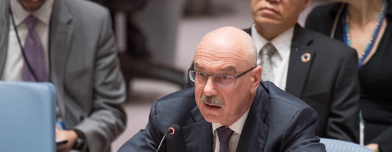 Vladimir Voronkov fala ao Conselho de Segurança.