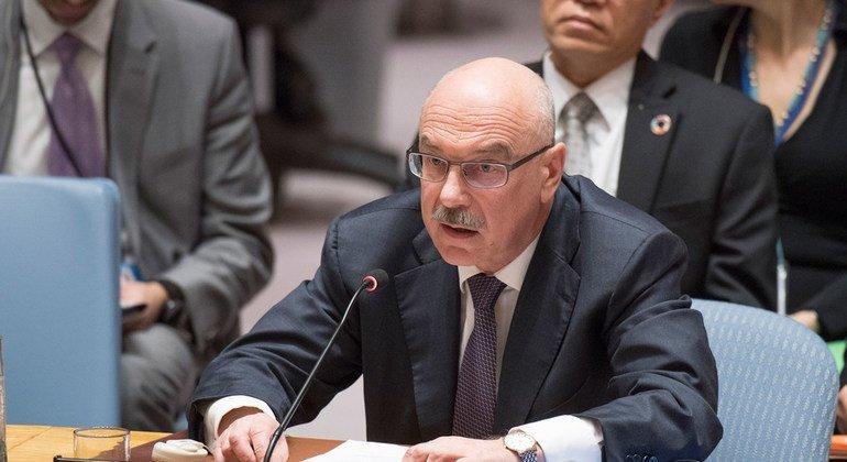 Глава Контртеррористического управления Владимир Воронков на заседании Совета Безопасности ООН