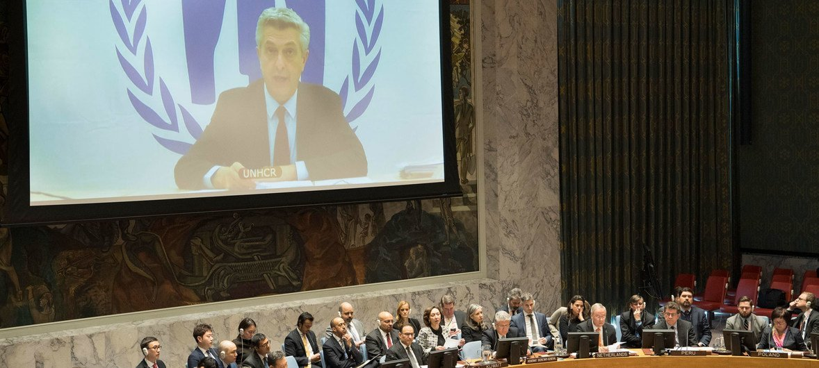 Filippo Grandi (on screen), UN High Commissioner for Refugees (UNHCR), briefs the Security Council meeting on the situation in Myanmar.