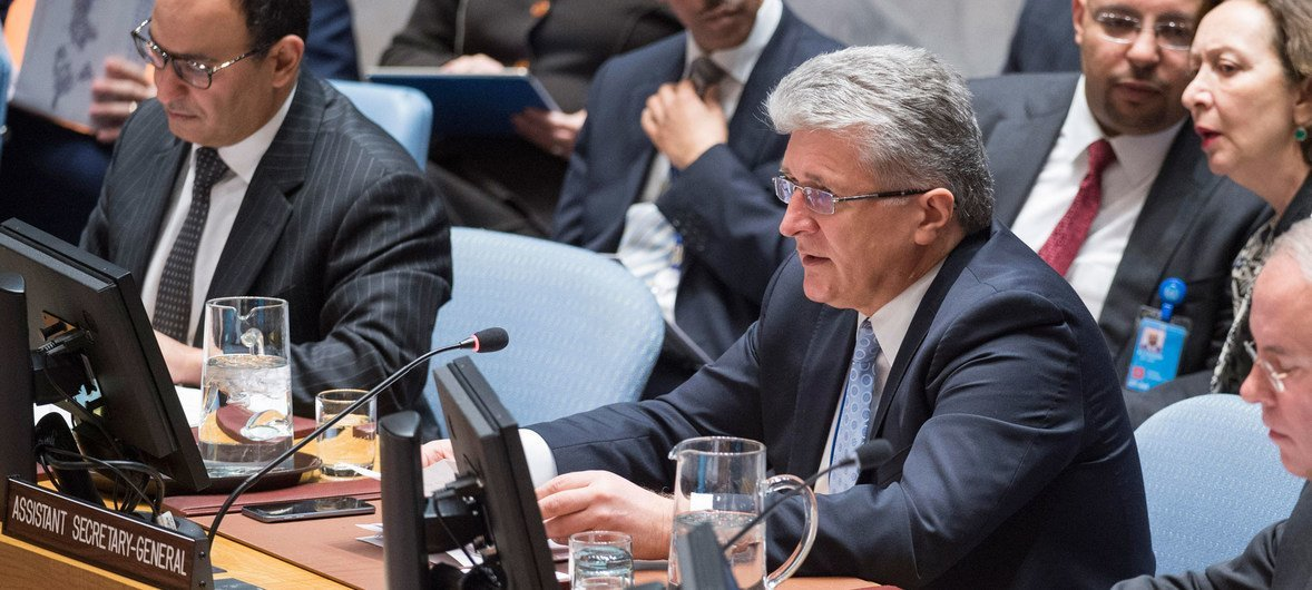 Miroslav Jenča, Assistant Secretary-General for Political Affairs, briefs the Security Council meeting on the situation in Myanmar.
