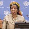 Phumzile Mlambo-Ngucka, Mkurugenzi Mtendaji wa  UN Women akizungumza na wanahabari kuhusu ripoti ya Usawa wa jinsia katika utekelezaji ajenda 2030