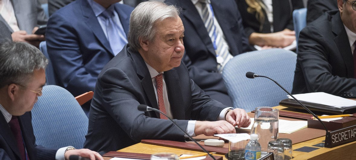 Secretary-General António Guterres addresses a Security Council meeting on the situation in the Middle East.