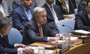 Le Secrétaire général de l'ONU, António Guterres, prenant la parole devant le Conseil de sécurité sur la situation au Moyen-Orient, le 20 février 2018.