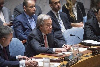 联合国秘书长古特雷斯在安理会发表讲话。