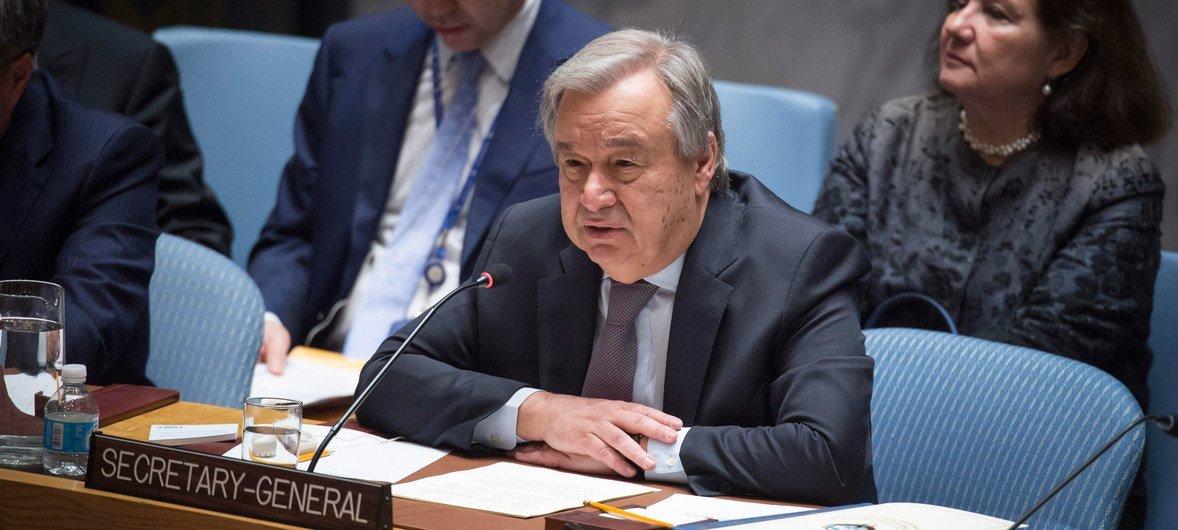 Secretário-geral da ONU, António Guterres, no Conselho de Segurança.