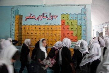 Wanafunzi wakiangalia jedwali la elementi au Periodic Table katika shule ya wasichana huko Herat, Afghanistan.