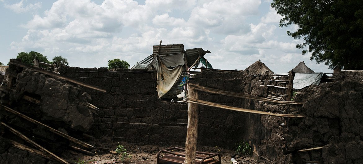 Remains of a burnt out home in Bor, South Sudan. (file).