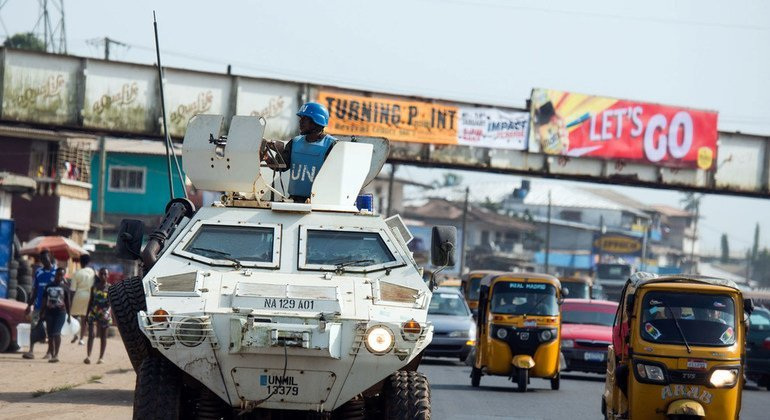 UN peacekeepers from Nigeria on an evening patrol in the streets of the capital, Monrovia.