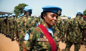 Капрал Мемунату Яхайя из Нигерии на базе ООН в Монровии ( Либерия)