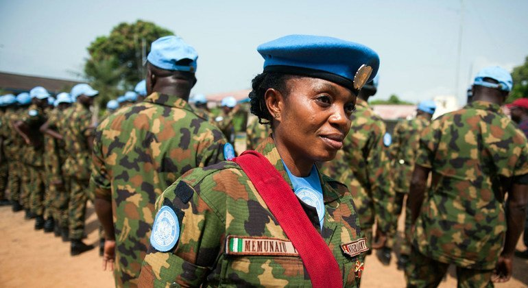 Corporal Memunatu Yahaya during an inspection at the UN base in Monrovia.