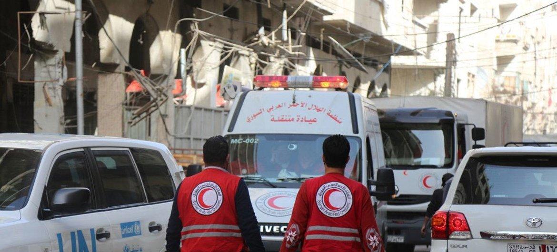 قام برنامج الأغذية العالمي والشركاء في مجال الإغاثة بإدخال مساعدات تشتد الحاجة إليها إلى منطقة دوما في الغوطة الشرقية، تحتوي على مواد غذائية وتغذوية وطبية تكفي لـ 27.500 شخص.