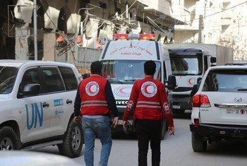 Las misión de asistencia humanitaria de la ONU y sus socios tuvo que ser suspendida por los imparables bombardeos.