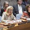La Ministre des affaires étrangères des Pays-Bas, Sigrid Kaag, dont le pays préside le Conseil de sécurité en mars, lors d'une séance du Conseil sur l'Afghanistan.