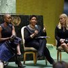 From left: actor and activist Danai Gurira Resse; Phumzile Mlambo-Ngcuka, Executive Director of UN Women; and actor and activist Reese Witherspoon taking part in International Women's Day at UN Headquarters.