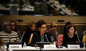 La Secrétaire générale de l'Organisation internationale de la francophonie (OIF), Michaëlle Jean, lors de l'évènement « Agir ensemble pour l'autonomisation économique des femmes au sein de l'espace francophone, notamment en milieu rural ».