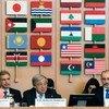 الأمين العام أنطونيو غوتيريش ( في الوسط)  خلال المؤتمر الوزاري الاستثنائي لدعم وكالة الأونروا الذي عقد في الخامس عشر من مارس/آذار في روما