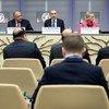 De gauche à droite: le Secrétaire général de l'ONU, António Guterres; les Ministres des Affaires étrangères de l'Egypte, Sameh Shoukry; de la Jordanie, Ayman Safadi; et de la Suède, Margot Wallstrom; et le Commissaire général de l'UNRWA, Pierre Krahenbuhl