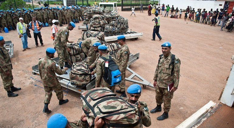 Pakistani peacekeepers serving with the UN mission in CAR (MINUSCA) are seen here arriving in the capital, Bangui, in September 2014.