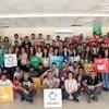 طلبة أتراك ولاجئون سوريون شباب يعملون معا في مشاريع التنمية المستدامة، في فعالية نظمها برنامج الأمم المتحدة الإنمائي.