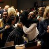 Participants at the 62nd session of the UN Commission on the Status of Women rejoice as the Commission adopts Agreed Conclusions to ensure the rights and development of rural women and girls.